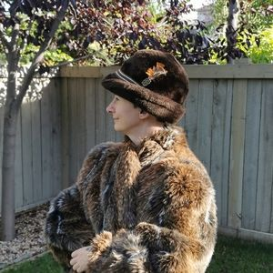 Vintage Winter Faux Fur Fedora Canadian Union Made